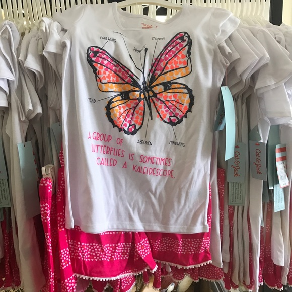 Girls Size Large 10//12 CAT /& Jack Butterfly 2 piece pink /& white PJ set NEW